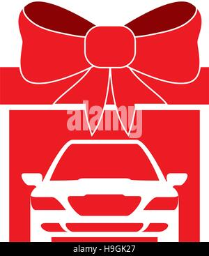big gift car red bow design - Stock Photo