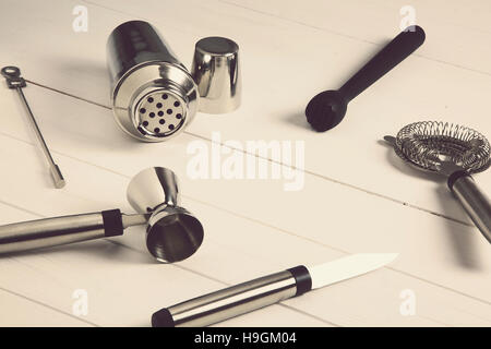 overhead of a set of tools for barman - Stock Photo