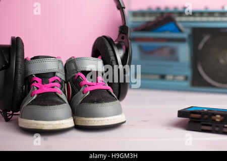 this composition pays homage to the legendary 80s through some typical of that era objects - Stock Photo