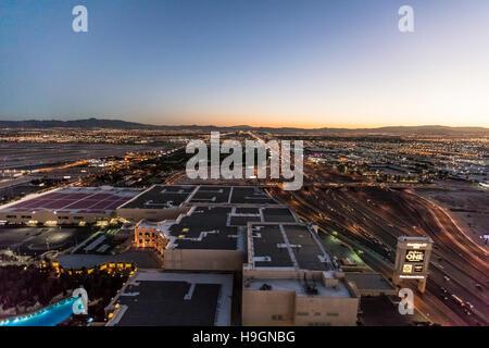 Aerial view of Las Vegas city, Nevada, USA - Stock Photo