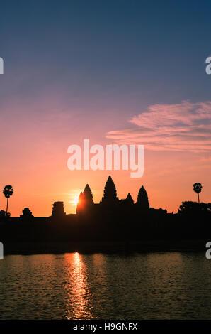 Sunrise at Angkor Wat, near to Siem Reap, Cambodia. - Stock Photo