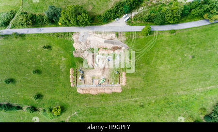 Construction site. Building concrete foundation for a new house. - Stock Photo