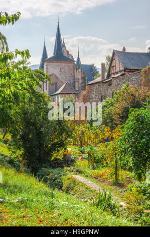 Kientzheim with medieval town wall, next to Kaysersberg, scenic village, route of vine Alsatian, Alsace, France - Stock Photo