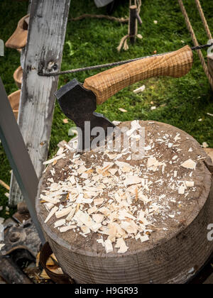 axe on chopping block at country fair