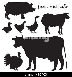Set of farm animals vector symbol - Stock Photo
