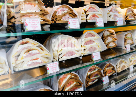 Freshly made sandwiches on sale in a sandwich shop in Milan, Italy. - Stock Photo