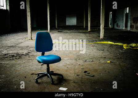 empty abandoned office space in an old factory warehouse unit ...