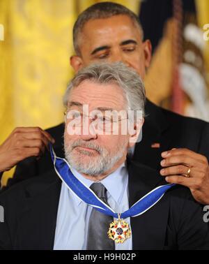 Washington, United States. 22nd Nov, 2016.  U.S. President Barack Obama presents the Presidential Medal of Freedom - Stock Photo