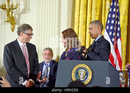 Washington DC, USA. 22nd Nov, 2016. United States President Barack Obama presents the Presidential Medal of Freedom - Stock Photo