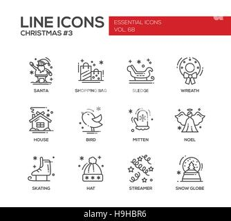 Christmas and New Year - set of modern vector simple line design icons and pictograms. Santa, shopping bag, sledge, - Stock Photo