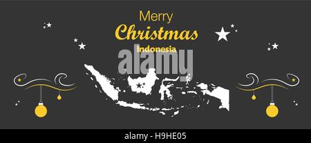 Merry Christmas illustration theme with map of Indonesia - Stock Photo