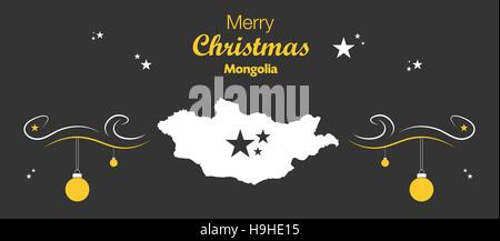 Merry Christmas illustration theme with map of Mongolia - Stock Photo