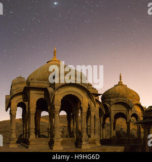The royal cenotaphs of historic rulers, also known as Jaisalmer Chhatris, at Bada Bagh in Jaisalmer, Rajasthan, - Stock Photo