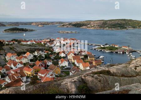 View over the village Fjällbacka, Bohuslän, Sweden seen from the kungsklyftan - Stock Photo