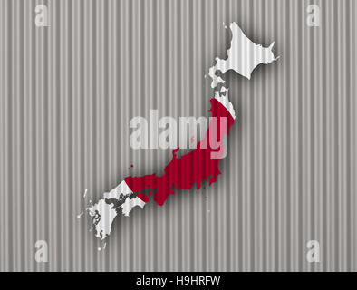 Map and flag of Japan on corrugated iron - Stock Photo