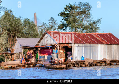 floating houses in Can Tho, Mekong Delta, Vietnam, Asia