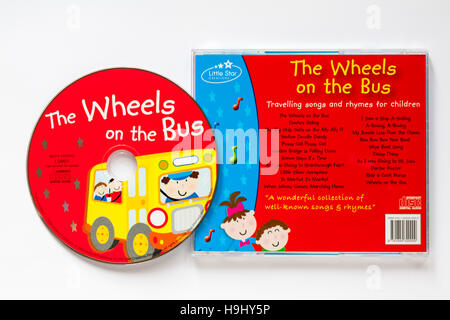 The Wheels on the Bus travelling songs and rhymes for children CD isolated on white background - Stock Photo
