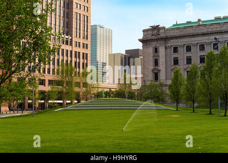 The lawn and concert seats in downtown Cleveland's newly renovated Public Square - Stock Photo