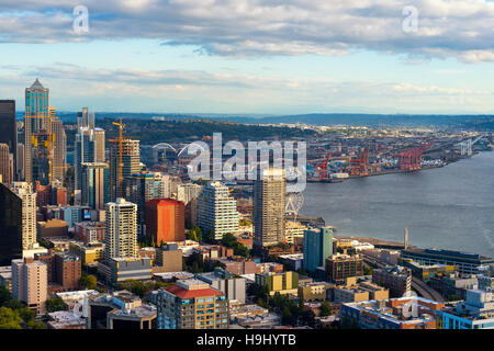 Seattle's rapidly growing downtown and waterfront area seen from up high - Stock Photo