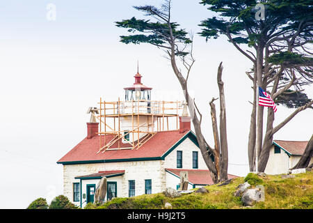 battery point lighthouse, crescent city, ca - Stock Photo