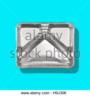 TV dinner tray vintage retro meal aluminum food dish on plain background - Stock Photo