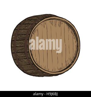 Wooden barrel top object, isolated on white vector illustration - Stock Photo