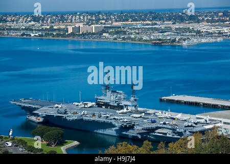 The US Navy aircraft carrier Midway museum on the downtown San Diego, CA waterfront. - Stock Photo