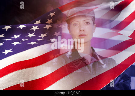 Composite image of waving flag of america - Stock Photo