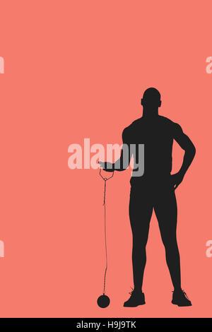Composite image of man preparing to throw marter - Stock Photo