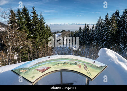 Direction plaque Mont Blanc view from Le Pailly, Col de la Faucille, Gex, Rhone Alpes, France - Stock Photo