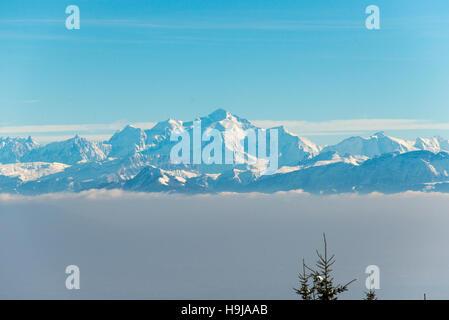 Mont Blanc view from Col de la Faucille, Gex, Rhone Alpes, France - Stock Photo