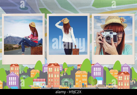 Composite image of hipster woman sitting on her suitcase - Stock Photo