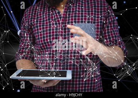Composite image of mid section of man gesturing while holding digital tablet - Stock Photo