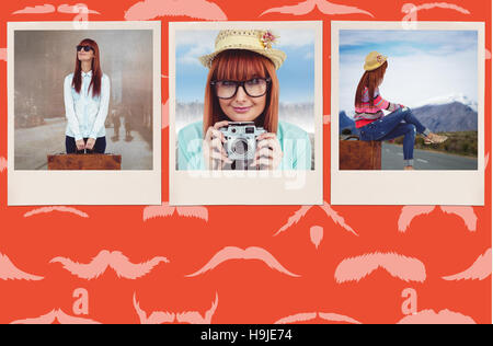 Composite image of smiling hipster woman holding suitcase - Stock Photo