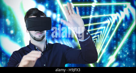 Composite image of businessman holding virtual glasses on a white background - Stock Photo