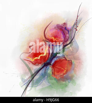 Abstract floral watercolor paintings.Red poppy flowers in soft color on grunge paper background - Stock Photo