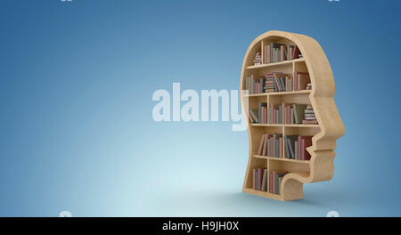 Composite image of human face shape bookshelves - Stock Photo