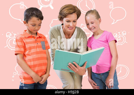 Composite image of teacher reading book with pupils at library - Stock Photo