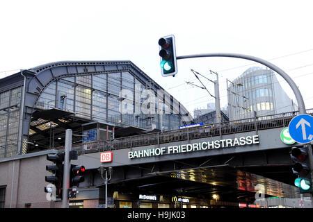'Bahnhof Friedrichstrasse' train station sign in Berlin November 2016 Germany, Europe  KATHY DEWITT - Stock Photo