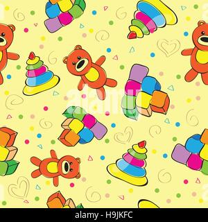 Variety of childrens toys - seamless vector illustration - Stock Photo