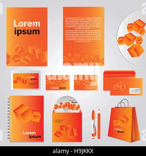Architectural corporate identity template with cube element - Vector company style for brandbook - Stock Photo