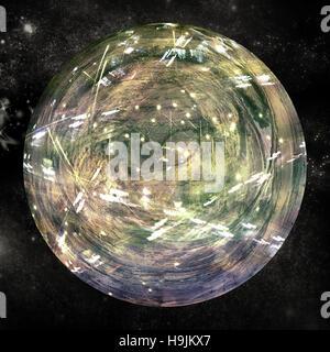 Illuminated globe on white background - Stock Photo