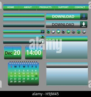 Web Elements Design Blue and Green - vector illustration - layout set - Stock Photo