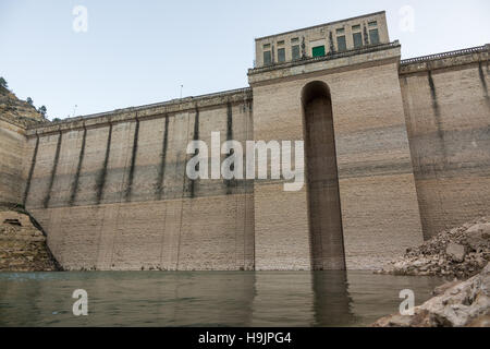 Closeup view of low level reservoir - Stock Photo