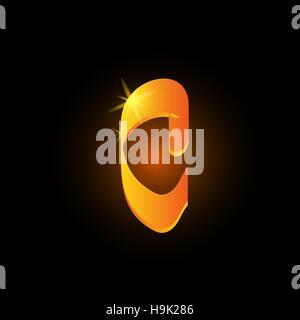 Golden arabic style letter c. Shiny latin alphabet element icon on black background. Oriental calligraphy design. - Stock Photo