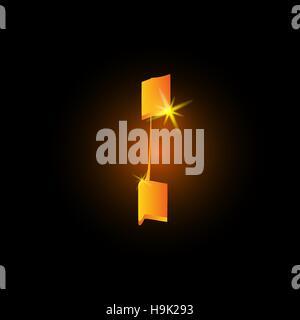 Golden arabic style letter i. Shiny latin alphabet element icon on black background. Oriental calligraphy design. - Stock Photo