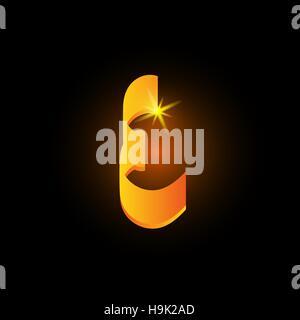 Golden arabic style letter e. Shiny latin alphabet element icon on black background. Oriental calligraphy design. - Stock Photo