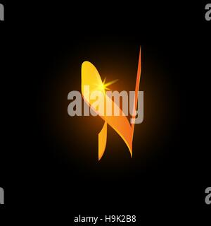 Golden arabic style letter n. Shiny latin alphabet element icon on black background. Oriental calligraphy design. - Stock Photo