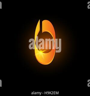 Golden arabic style letter o. Shiny latin alphabet element icon on black background. Oriental calligraphy design. - Stock Photo