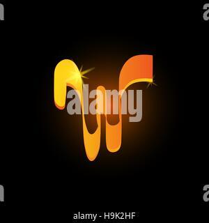 Golden arabic style letter w. Shiny latin alphabet element icon on black background. Oriental calligraphy design. - Stock Photo